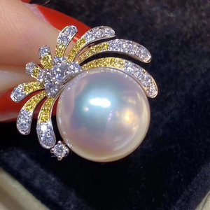Image 4 - D109 Pearl Rings 11 12mm Fine Jewelry 18K Gold Natural White Peals Diamonds Rings for Women Fine Pearls Rings