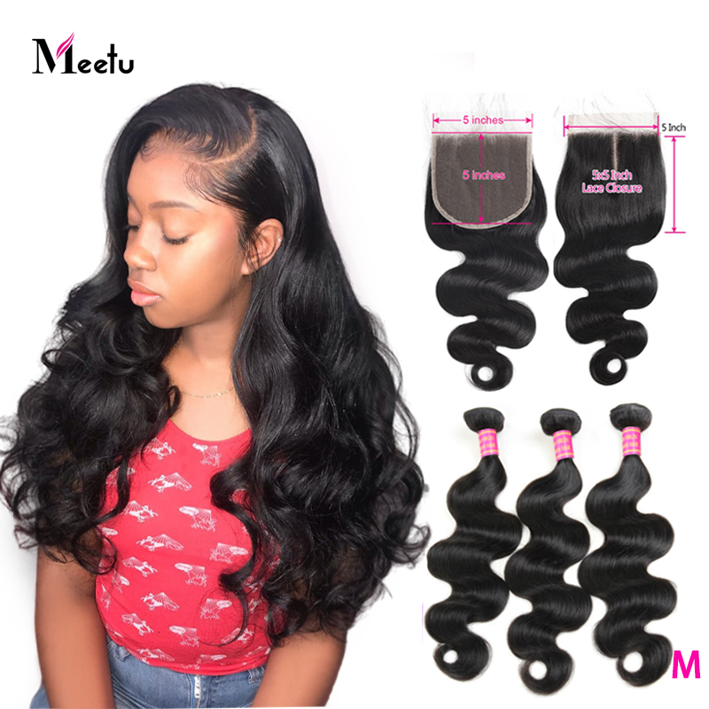 Meetu Hair 5x5 Closure With Bundles Malaysian Body Wave Bundles With Closure Non Remy Human Hair 3 Bundles With Closure Lace