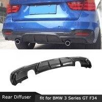 For BMW 3 Series GT F34 M Sport 4 Door 2014 2018 Rear Lip Diffuser Carbon Fiber / FRP MP Style Back Bumper Fin Plate Spoiler