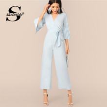 Sheinside Blue Pleated Bell Sleeve Wrap Wide Leg Jumpsuit Women 2019 Autumn 3/4 Sleeve Jumpsuits Ladies Solid Belted Jumpsuit(China)