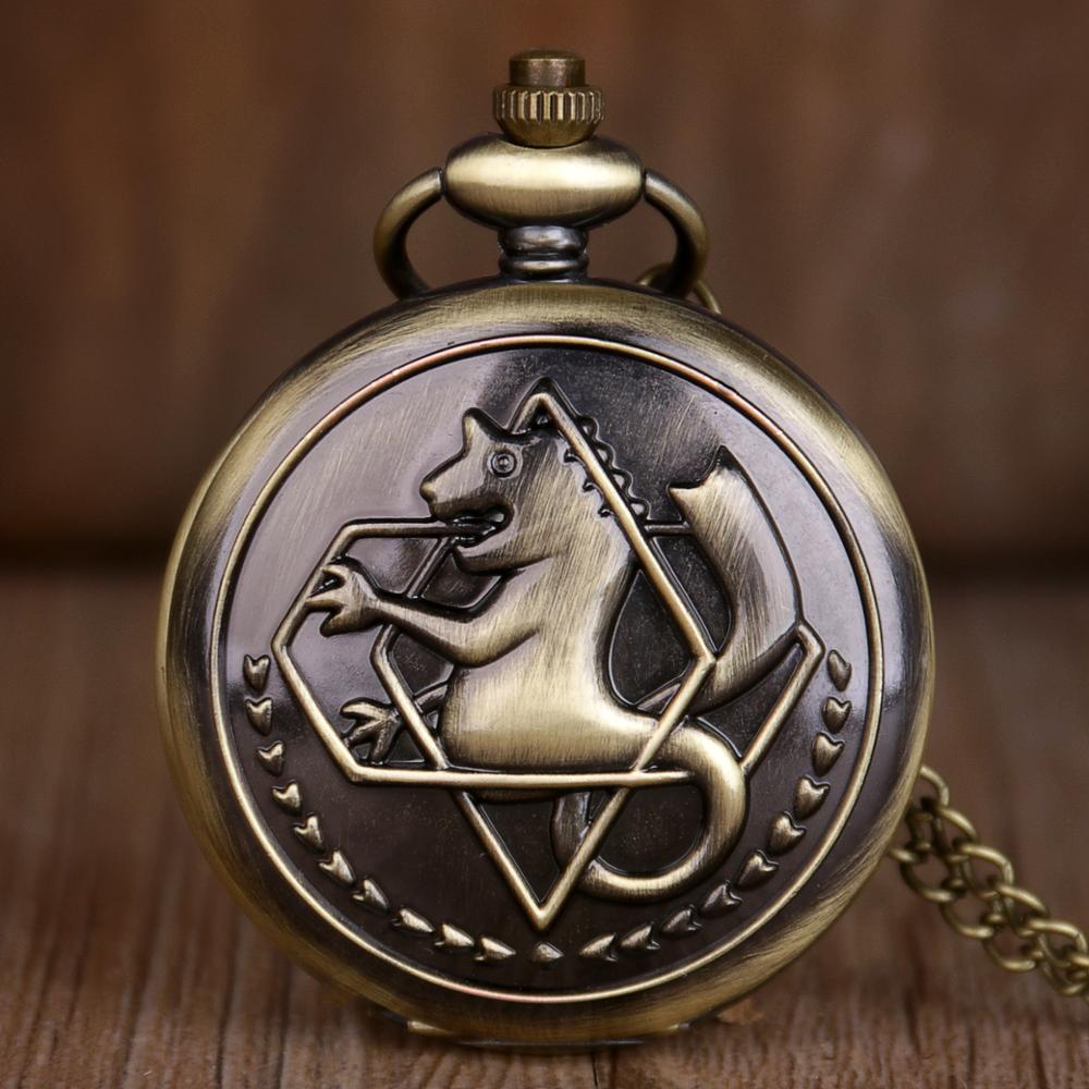 Top Brand Quartz Pocket Watches Full Metal Alchemist Dull Polish Edward Elric Pocket Watches Necklace Pendant Chain Men Women