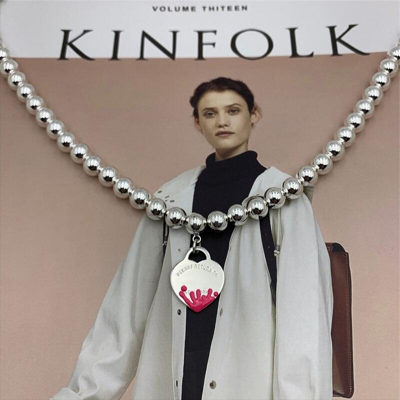 SHINETUNG S925 argent sterling rose eau fleur coeur pendentif 8mm collier de perles rondes, 1: 1 bijoux haut de gamme pour femmes avec logo.