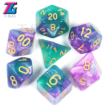 Delicate Creative Universe Galaxy Dice Set Of D4-D20 With Mysterious Royal Blue Mix Black,Glitter Powder ForTRPG,DND Board Game