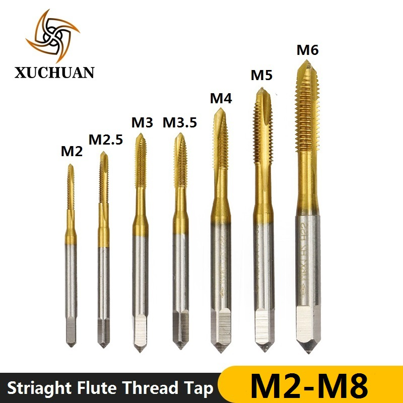 1pc M2-M8 High Speed Steel Metric Thread Tap TiN Coating Straight Flute Machine Tap Metric Screw Tap Drill Bit