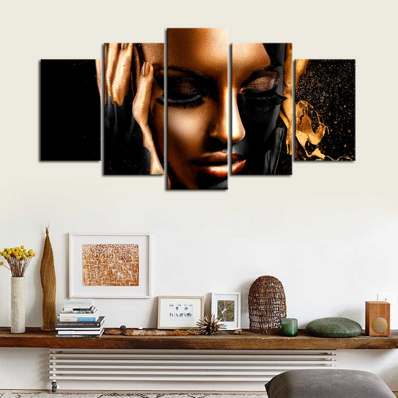 5 Piece Canvas Art Modern Black Gold African Women Art Print Wall Decor Canvas Fashion Poster Print Art Painting