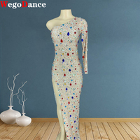 New Women Dress Sexy Costumes Sparkly Glass Rhinestones Long Diamond Birthday One Sleeve Dancer Mesh Lace Party Dresses