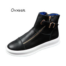 OVXUAN All Black Sneakers Metal Buckle Strap Leather High Top Trend Shoes Casual Ankle Boots Men Banquet Harness Boots Footwear(China)