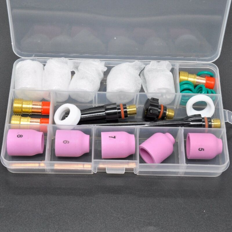 31pcs Set TIG Welding Torch Stubby Gas Lens #12 Heat Cups For WP-17/18/26 Parts