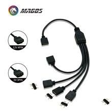 延長ケーブルマザーボードインターフェイス 5V3PIN/12V4PIN オーラ RGB 1 2/3/4 インタフェーススプリッタアドレス可能 d RGB 同期ハブ JST 3Pin