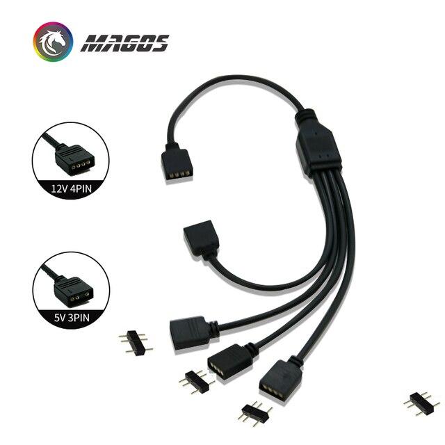 Câble dextension pour Interface de carte mère 5V3PIN/12V4PIN AURA rvb 1 2/3/4 répartiteur dinterface adressable D RGB Hub de synchronisation JST 3Pin