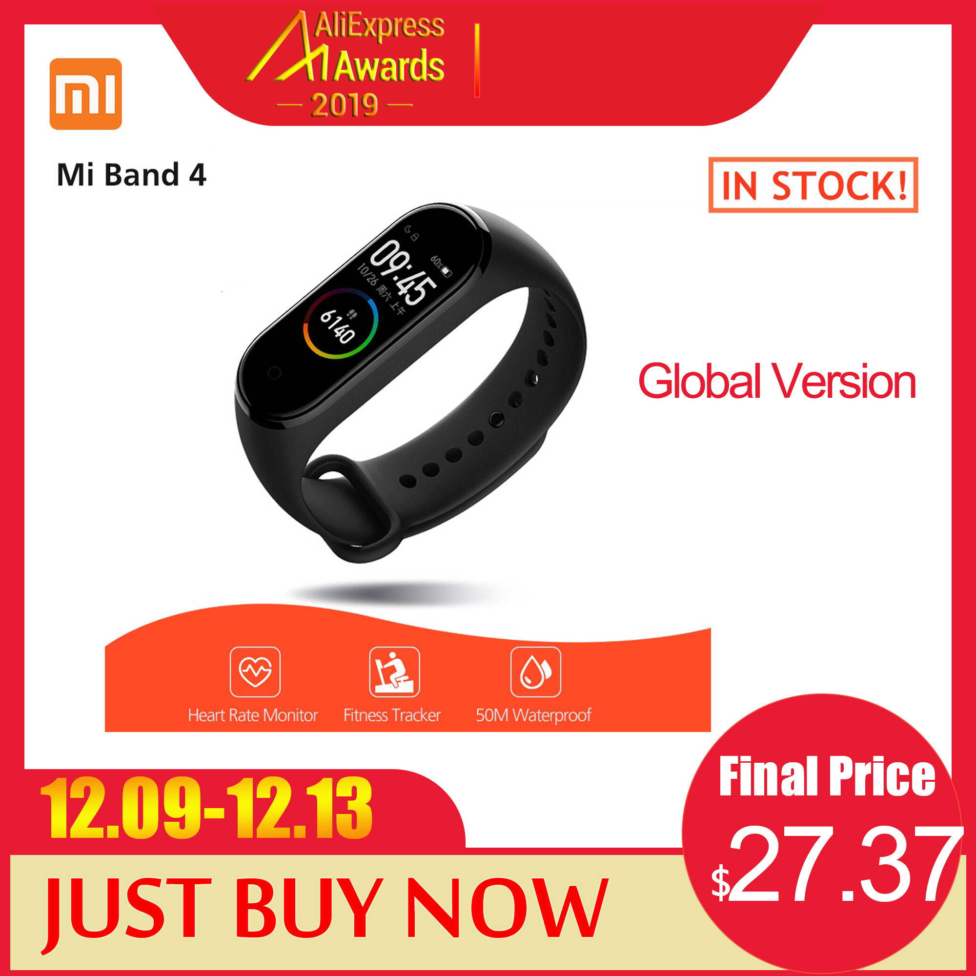 Global Version Xiaomi Mi Band 4 Smart Bracelet AMOLED Color Screen Waterproof Smartband Sport Watch Fitness Traker Smart Band image