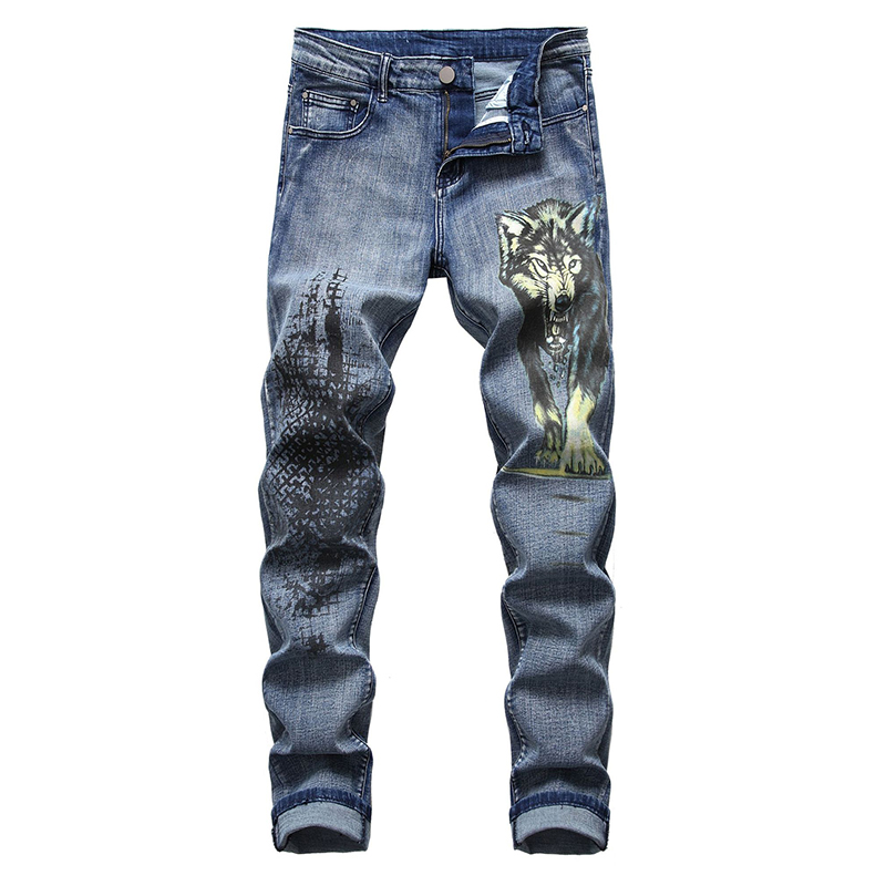 Sokotoo Men's wolf printed jeans Fashion slim fit beast painted stretch denim pants Plus big size trousers