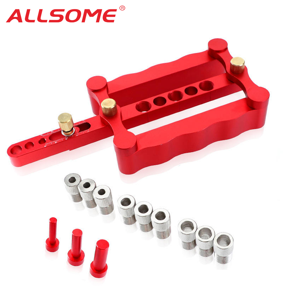 ALLSOME Dowel-Puncher Guide Locator-Tools-Kit Jig-Drill Carpentry Woodworking Self-Centering