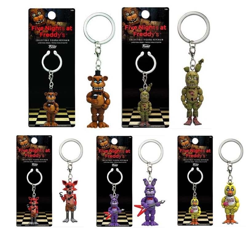 1pc Five Nights At Freddys Keychain Action Figures Anime PVC  FNAF Freddy Keychain Ring Figure Toys For Children Model 5cm