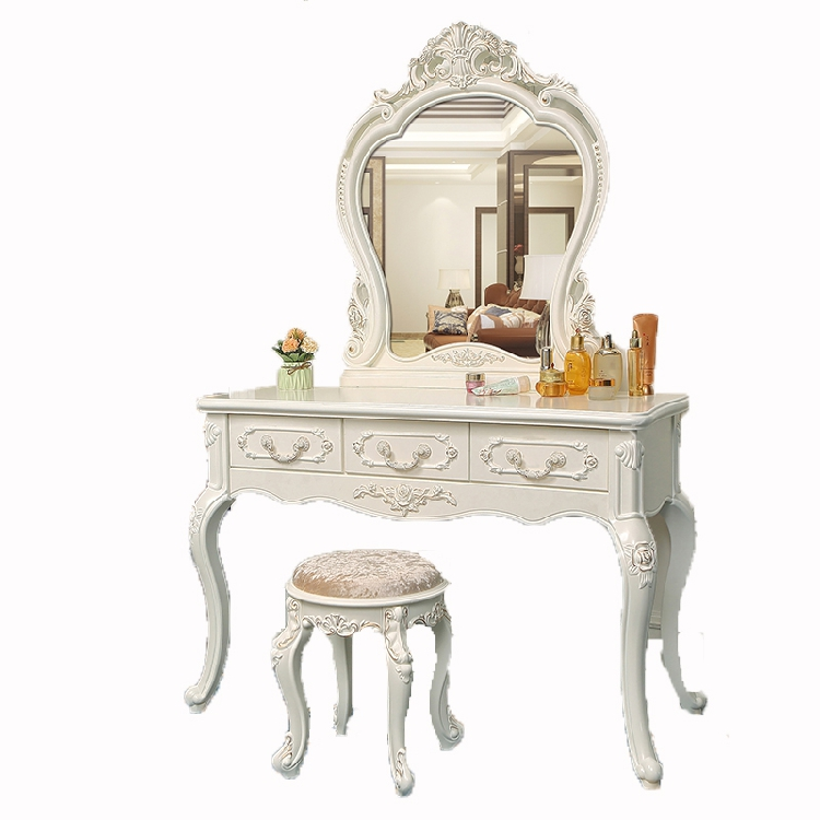 European Bedroom Dressing Table Solid Wood Ivory White Ins Dressing Table Penteadeira Toaletka Makeup Cabinet Cheap