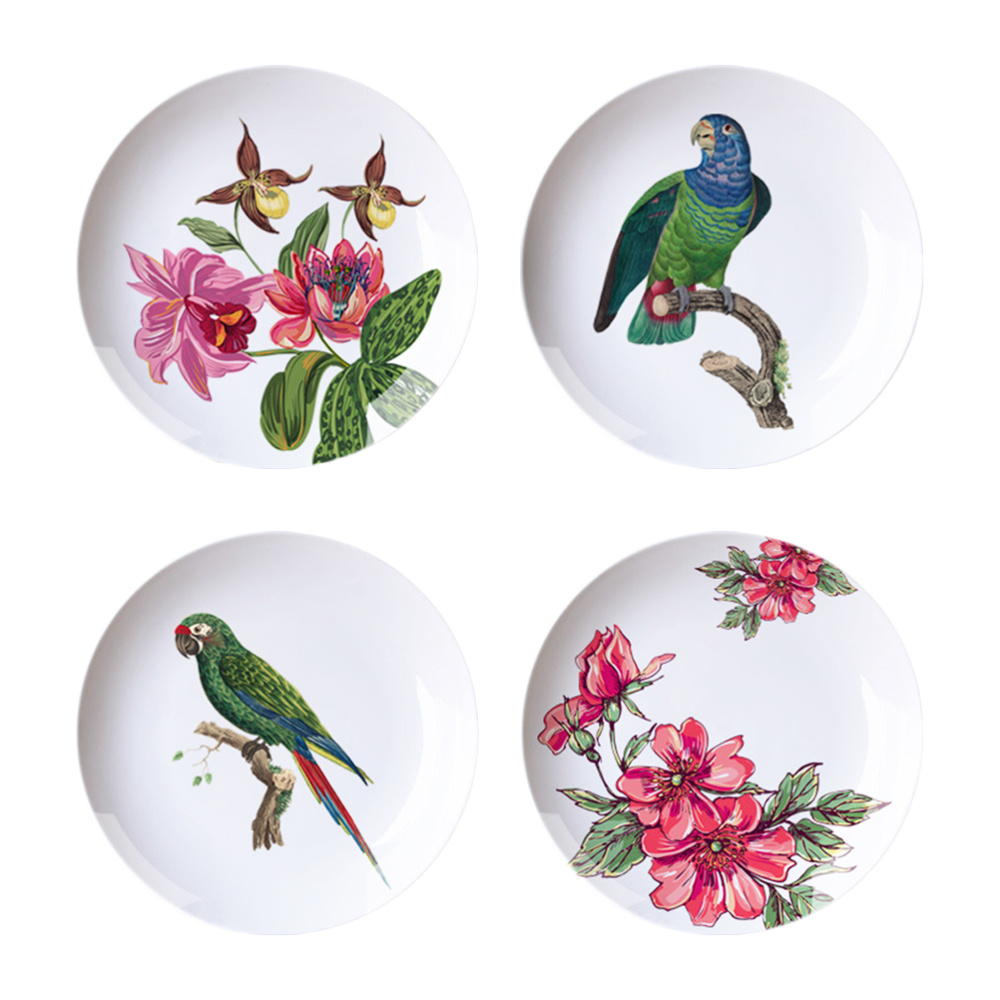 4PCS Country Style Creative Pattern Hanging Plates Ceramic Ornaments Artistic Wall Decoration for Home Office Living Room (Rando image