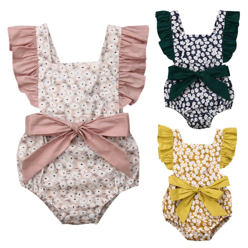 Infant Baby Girl Ruffle Sleeve Bowknot Romper Jumpsuits Summer Outfit Clothes