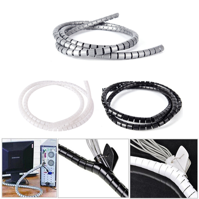 Flexible 2M Electrical Spiral Cable Wrap Tidy Cord Wire Organizer 10//25mm Supply
