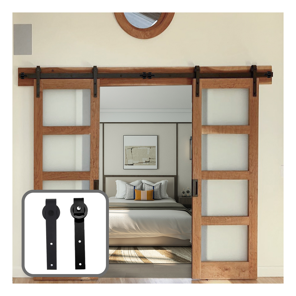 9FT 2740mm Double Sliding Barn Door Hardware Track Kit Black J-Shaped Hangers (Each Door Width 27