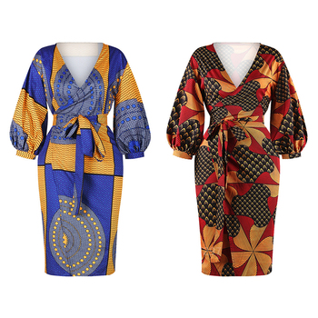 Lue's House African Dresses for Women Dashiki Lantern Sleeve