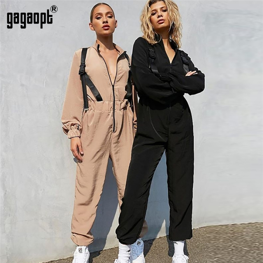 Gagaopt 2019 High Fashion Autumn Rompers Womens Jumpsuit Sexy Vintage Casual Khaki Long Sleeve Jumpsuit Rompers Overalls