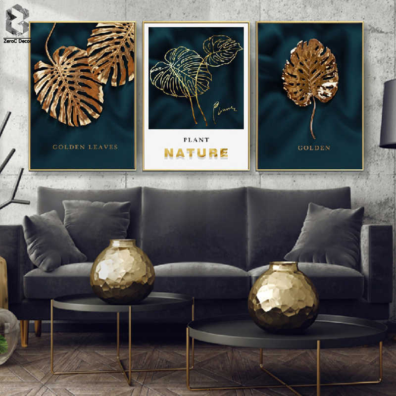 Green Gold Monstera Plant Painting Large Leaf Poster Print Wall Art For Living Room Aisle Unique Modern Decoration Dropshopping
