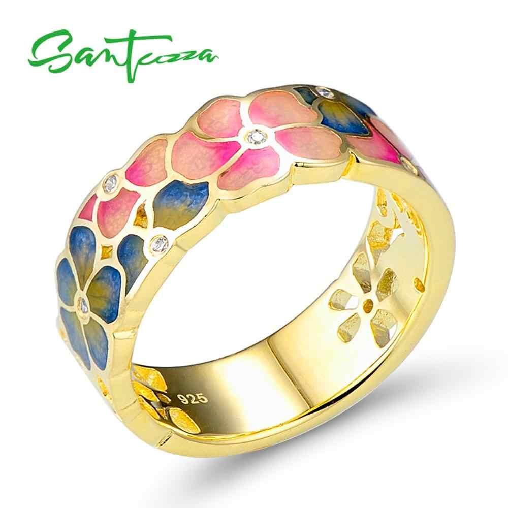 Santuzza ชุดเครื่องประดับแฮนด์เมดเคลือบฟันสีขาว CZ แหวนดอกไม้หินต่างหู 925 เงินสเตอร์ลิงแฟชั่นผู้หญิงชุดเครื่องประดับ