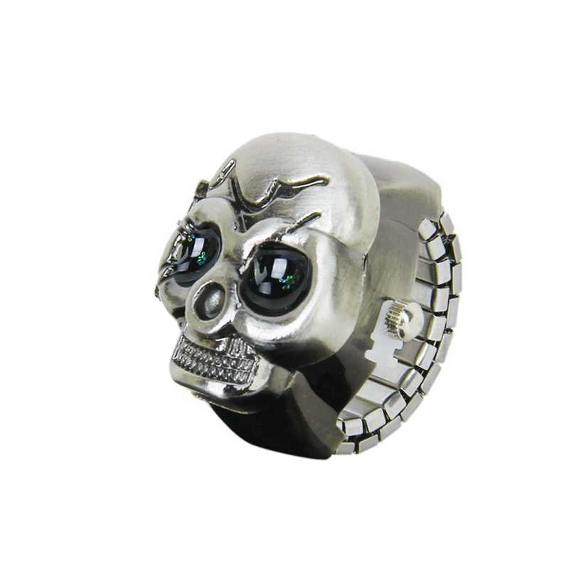 ברונזה Flip-Up גולגולת כיסוי אצבע טבעת שעון נמתח רצועת שעון יוניסקס-סוללה כלול, אידיאלי עבור גולגולת מאהב
