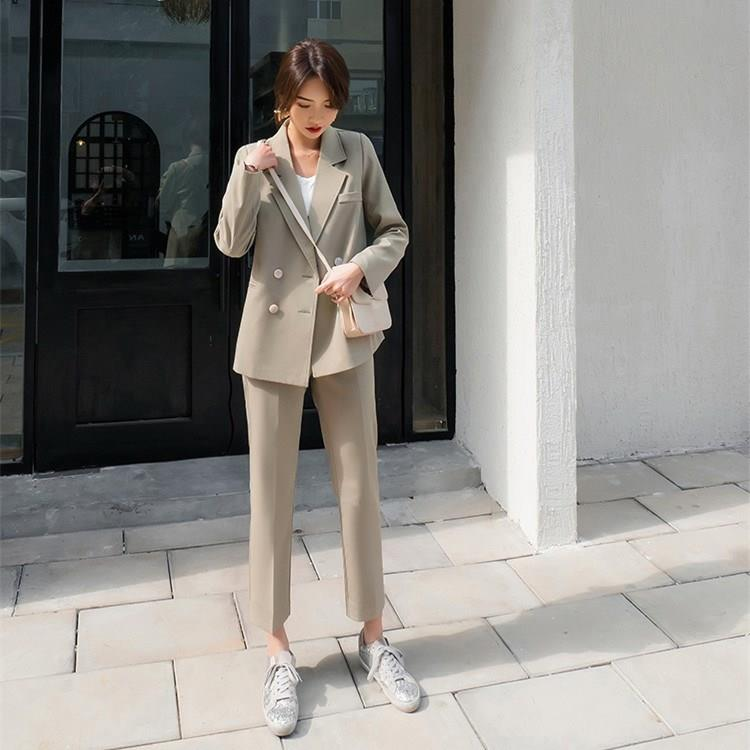 Women Elegant Two Piece Sets Winter Notched Blazer Coat High Waist Pants Suit Work Suits Office Lady Solid Set