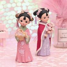Presentes de natal princesa chinesa bonecas decorações mesa escritório fadas jardim estatuetas em miniatura natal decoração para casa