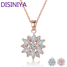 DISINIYA  Hot Sell Gold Color Flower Necklaces Pendants with High Quality Cubic Zircon For Women Birthday Gift JIN024
