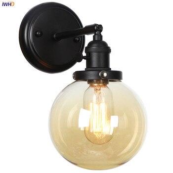 IWHD Loft Industrial Decor Glass Ball Wall Light Switch Hallway Bathroom Mirror Stair Black Lamp Sconces Applique Murale