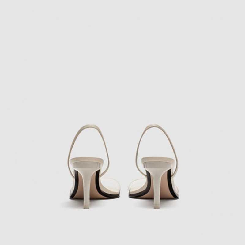 Прозрачные женские босоножки на тонком высоком каблуке; Летние сандалии-гладиаторы без застежки для отдыха на шпильке; Цвет белый; Sandalias Mujer; 2020