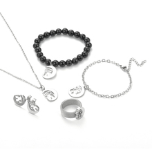 bear jewlery set earrings ring necklace bracelet anklet Stainless Steel Moon Bear Party Accessories Mama Gift 5pc for 1 set circle moon necklace bracelet earrings with ring set