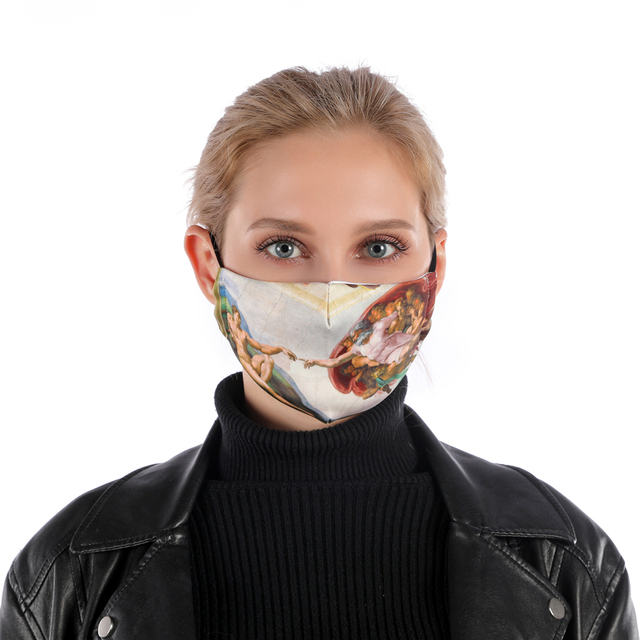 Zohra MICHELANGELO ART Printing Reusable Protective PM2.5 Filter mouth Mask anti dust Face mask bacteria proof Flu Mask 1
