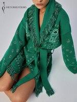 MEIYANGYOUNG maglioni di Cardigan in maglia di Cashmere donna maglione oversize Top manica lunga stampa nappa con fusciacca cappotto giacca allentata