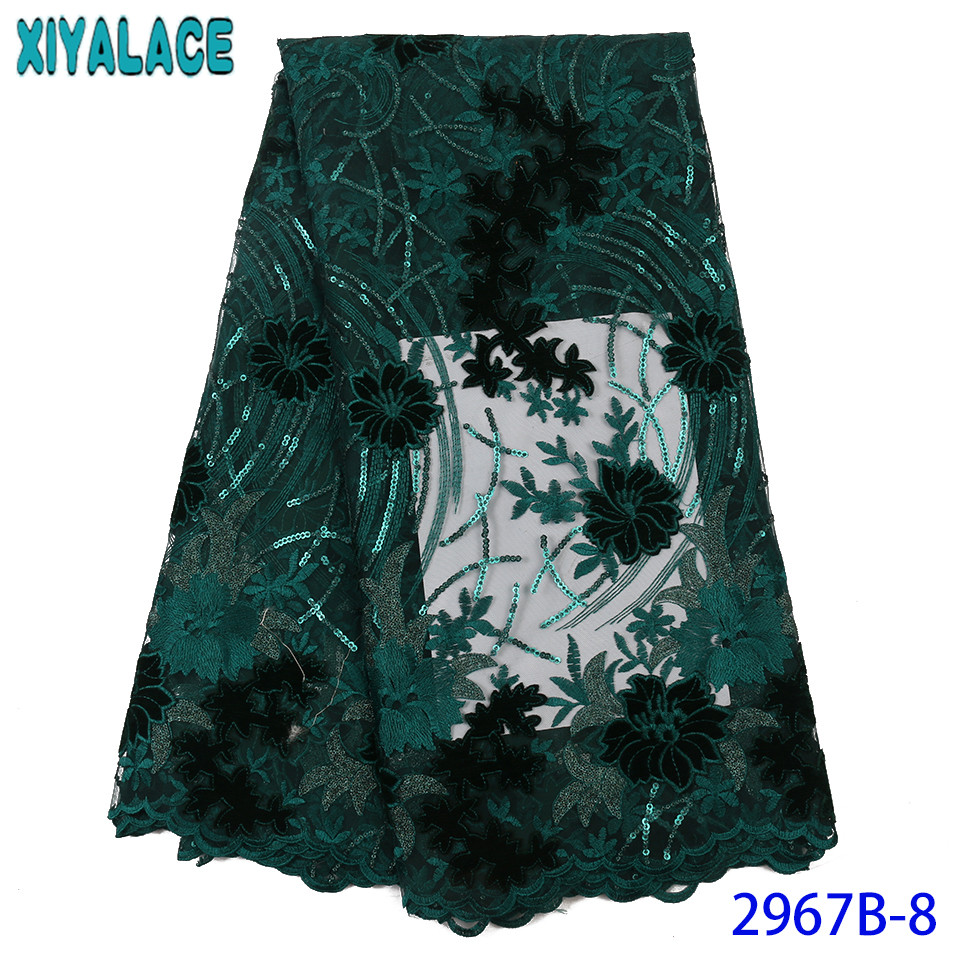 African Lace Fabric 2019 High Quality Lace,Hot Sale Sequence Lace Fabric,Velvet Sequins Lace Fabric For Dresses KS2967B-8