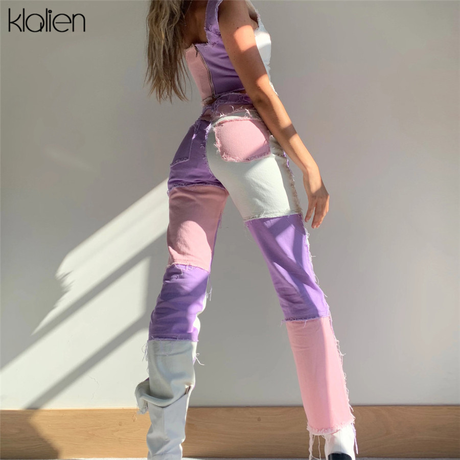 Kalien модные уличные брюки женские с высокой талией на молнии Лоскутные хип-хоп брюки в стиле диско дамские уличные повседневные брюки 2020