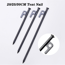 4PCS 20/25/30CM Tent Nail Durable High Strength Steel With Hole Black Ground Stakes For Outdoor Camping Hiking Tent Awning Trip