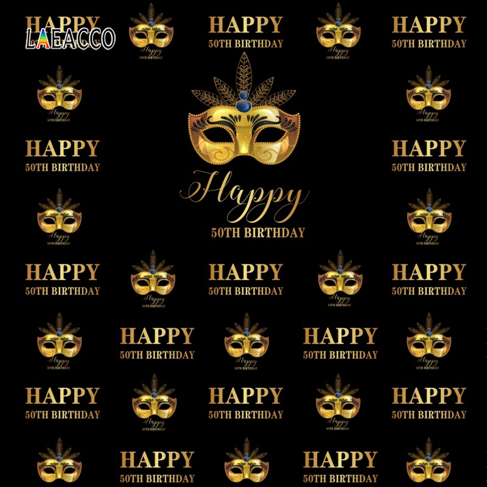 Laeacco <font><b>Happy</b></font> <font><b>50th</b></font> <font><b>Birthday</b></font> <font><b>Backdrops</b></font> For Photography Mask Party Decoration Portrait Photographic Backgrounds Photocall Photo image