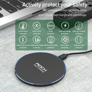 Image 4 - LED Breathing Light 10W Wireless Charger , ROCK Qi Fast Wireless Charging Pad For iPhone X XS 8 Samsung Xiaomi