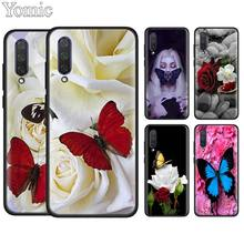 butterfly on white roses flower Silicone Case for Xiaomi Mi A1 A2 A3 Lite 9T CC9E 5X 6X Redmi K20 Pro 7 7A Note 7 Black Case Coq