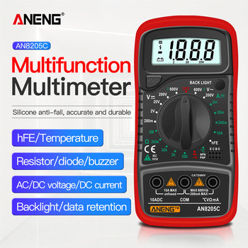 ANENG AN8205C Digital Multimeter AC/DC Ammeter Volt Ohm Tester Meter Multimetro With Thermocouple LCD Backlight Portable richmeters 102 mini multimeter lcd digital multimetro for volt amp ohm tester back light meter voltmeter ammeter