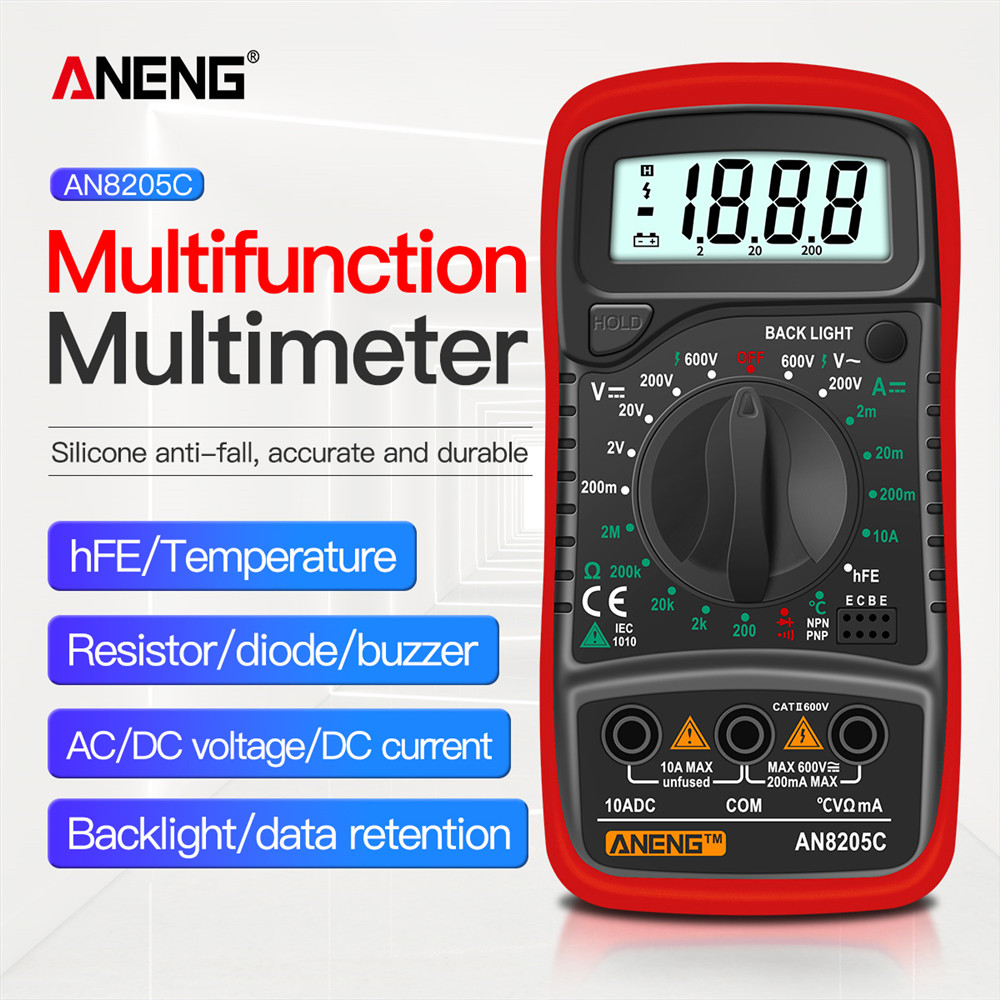 Aneng an8205c multímetro digital ac/dc amperímetro volt ohm tester medidor multimetro com termopar lcd backlight portátil
