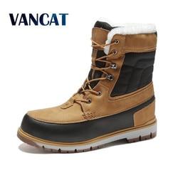 Vancat inverno quente pele de pelúcia botas de neve homens tornozelo boot qualidade casual motocicleta bota à prova dbig água botas masculinas tamanho grande 39-47