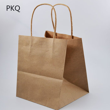 15x15x17cm 50pcs Square Kraft paper gift bag flower Takeaway packaging bag with handle kraft gift cloth packing shopping bag