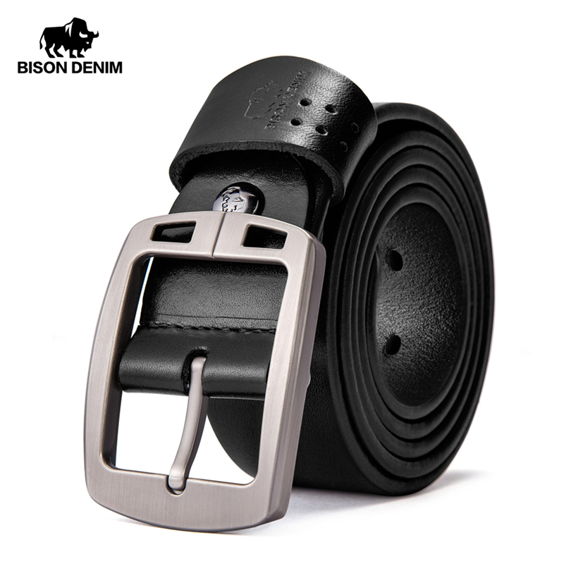BISON DENIM Genuine Leather Men's Belt Vintage Pin Buckle Accessories Male Belts Gift Designer Belt Men Jeans Belt N70781