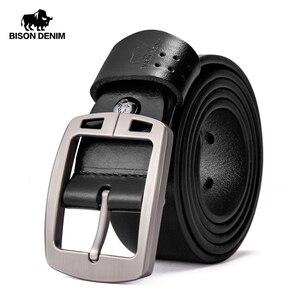 Image 1 - BISON DENIM Genuine Leather Mens Belt Vintage Pin Buckle Accessories Male Belts Gift Designer Belt Men Jeans Belt N70781