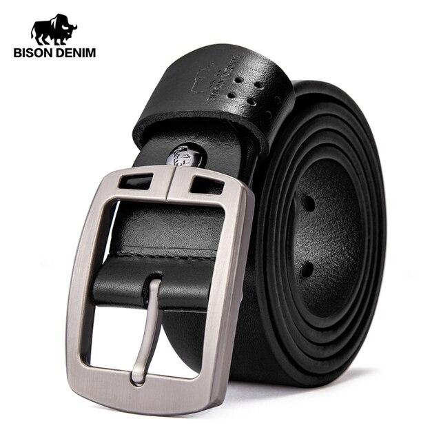 BISON DENIM Genuine Leather Mens Belt Vintage Pin Buckle Accessories Male Belts Gift Designer Belt Men Jeans Belt N70781