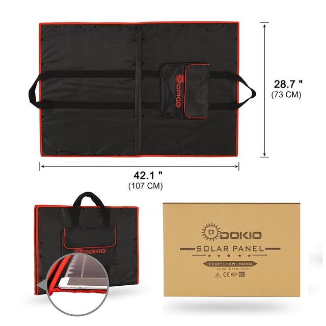 Dokio 100W 110W (55Wx2Pcs) 18V Flexible Black Solar Panels China Foldable + 12/24V Volt Controller 110 Watt Panels Solar 5